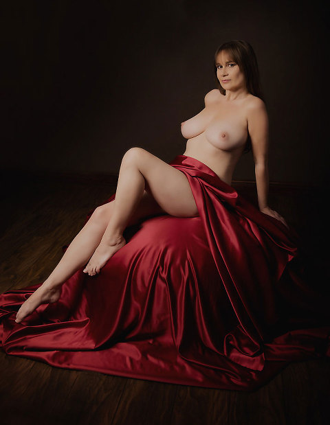 glamour photography - nude red satin