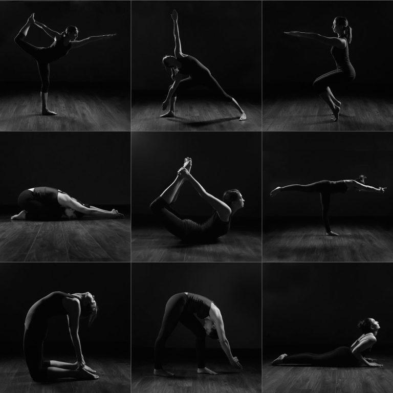 boudoir style yoga pose photo shoot